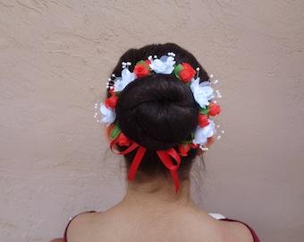 Rosebuds & Magnolias Bun Crown, Many Colors, Bun Wrap, Floral Bun Wrap, Ballet Headpiece, Floral Bun Wreath, Bun Cover, Bun Maker