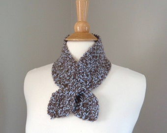 Ascot Neck Scarf, Brown & Blue, Pull Through Keyhole, Hand Knit Neck Warmer, Merino Wool and Cashmere Blend