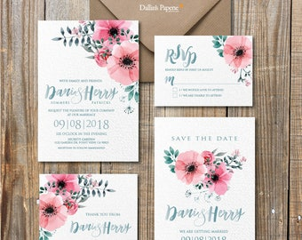 floral wedding invitation, Watercolor printable wedding invitation, cottage chic wedding, calligraphy, save the date, DIY