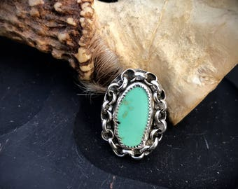 Chained Up New Lander Turquoise & Sterling Silver Ring, size 6