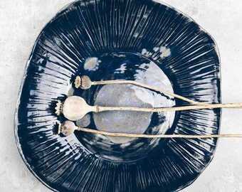 Dark blue ceramic decorative dish
