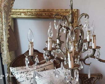 vintage shabby chic lighting. stunning vintage brass chandelier 5 arm crystals 10 lights wedding romantic paris apt french farmhouse shabby chic lighting