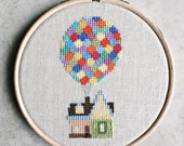 UP house with balloons cross stitch - threadordeadclub modern Disney Pixar cross stitch hoop - finished embroidery piece