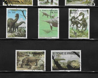 Prehistoric Animals and Dinosaurs Vintage Stamps - S. Tomé and Principe & Magyar Posta Hungary