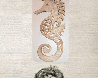 Fancy Seahorse - (Small) Wood Cut Out -  Laser Cut