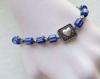 Slim Blue and White Striped Bead Bracelet with Silver Heart Charm, Glass Chevron Beads, Knotted Boho Bracelet