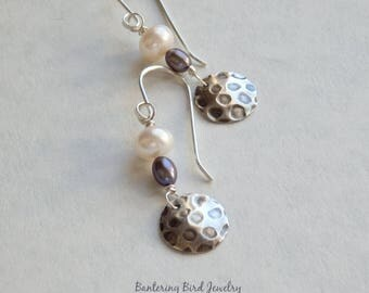 Freshwater Pearl Earrings with Textured Sterling Silver Discs, Blue-Grey and White, Hammered Silver Charms