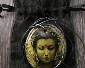 Quan Yin - Pendant, the Goddess of compassion, handmade