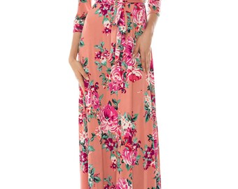 STELLA Wrap Style Dress in Dusty Rose with Floral Print