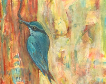 Patient Nuthatch  is a  20x20 original painting