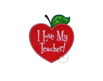 I love my teacher heart shapped apple no sew applique