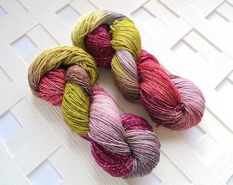 Handdyed Yarn, SNAPDRAGONS, Sparkly Sock Yarn, Superwash Merino Yarn, Crochet Yarn, Sparkly Knitting Yarn, Indie-Dyed Yarn, Variegated Yarn