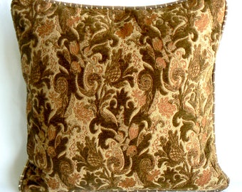 """Chenille brown and rust, 18"""" Pillow"""
