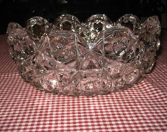 Large Pressed Glass Decorative Bowl - Mid Century Faux Cut Glass