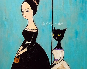 Lady with Cat, original mixed media painting on wood by Shijun Munns