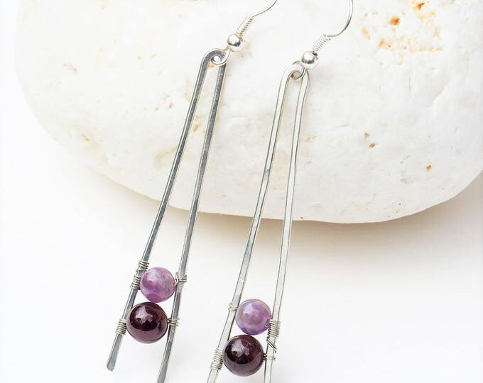 Amethyst earrings Minimal Garnet Gemstone Simple Wedding jewelry Bridesmaids gift Anniversary gift for mother her girlfriend Silver tone