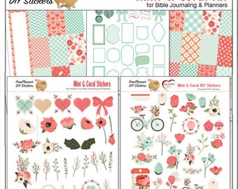 40% Off! Mint Coral Planner MEGA Kit Stickers!  Printable Editable Planner Kit  9 PDFs  Stickers Happy Planner Bike, Flowers, Hearts, Bows