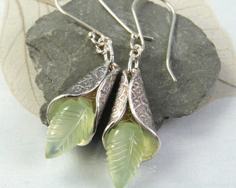 Elven Silver Drop Earrings - Carved Prehnite Gemstones Wrapped in Silver