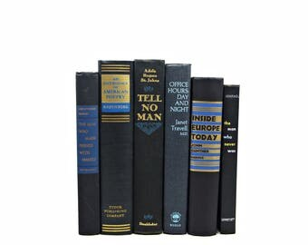 Black Blue Decorative Books, Antique Book Set, Wedding Centerpiece decoration, Book Decor, y, Old Book , Interior design