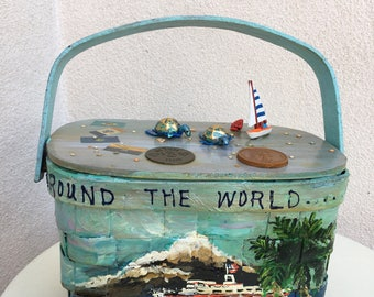Vintage kitsch wood basket tote purse Around the World all that Jazz theme handpainted lined