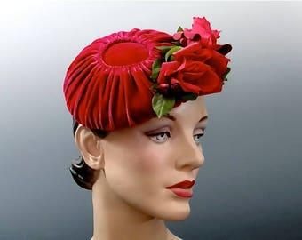 1950's Tilt Hat Fascinator Bonwit Teller -  Hot Pink Velvet with Matching Silk Roses and Posies