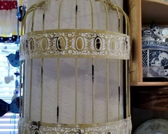 Vintage wire metal bird cage rustic half cage wall decor, just add your special creation.
