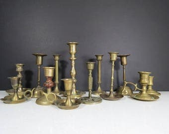 Rustic Candlesticks Centerpiece // Set of 13 Vintage Assorted Brass Candleholders Tarnished Wedding Decorations Dinner Table Decorations