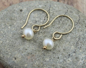 Simple, 14K Gold Filled, Cultured Freshwater Pearl Dangle Earrings, Dainty, Everyday Earrings, Woman's Gift, Wedding Party Gifts, Bridal