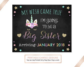 Unicorn Pregnancy Announcement, Going to be a big sister, Expecting Photoshoot Prop, Promoted to Big Sister sign, DIY Printable
