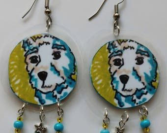 Westie Laminated Earrings-West Highland Terrier Earrings-Dog Earrings-Handmade-Original Drawing-Dangle Earrings-Lightweight-French Earwires