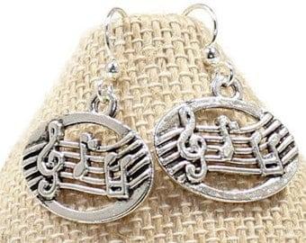 Music Earrings / Music Lover Earrings/ Music Teacher Earrings / Band Earrings / Musical Note / Treble Clef / Music Charm Earrings /Gift