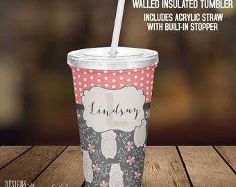 Monogram Acrylic Tumbler, Personalized Tumbler, Monogrammed, Custom Tumbler, Personalized Cup, Monogram Gift, Cup with Straw Acrylic Cup TM6