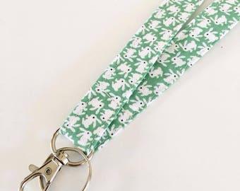 Keys lanyard Badge holder, Teacher lanyard with bunnies, Fabric lanyard