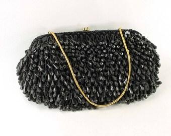Walborg Richere Black Beaded Purse Vintage Evening Bag
