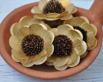 Wooden Flowers - 24 Pcs Gold Brown-Eyed Susan-  Floral Supplies - Wedding Flowers