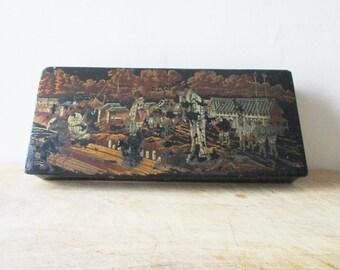 Antique french pencil school box, Vintage Paper mache box, Napoleon III 1800s, Japan decor, Cardboard, France, Plumier carton bouilli