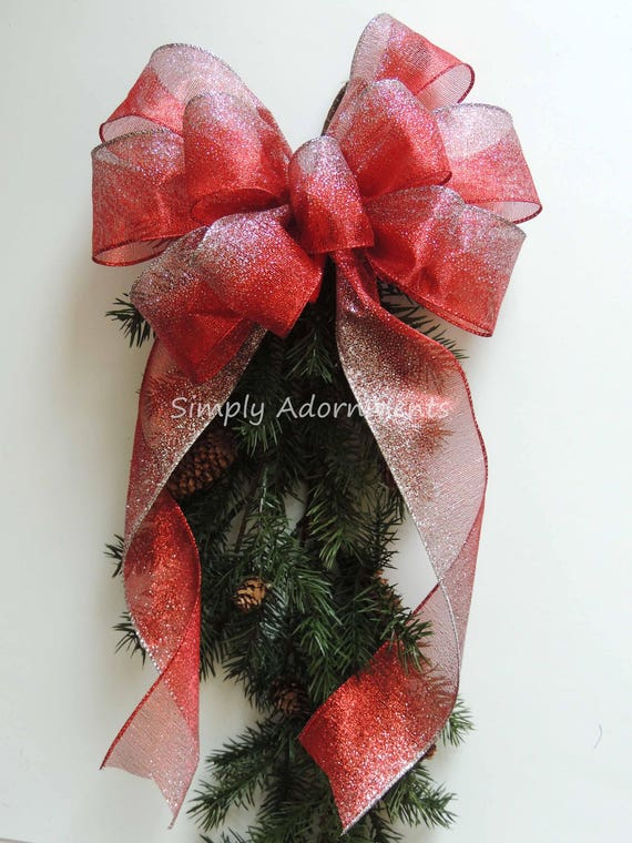 Red Silver Ombre Bow Red Silver Christmas Tree Top Bow Red Silver Christmas Wreath Bow Christmas Wedding Pew Bow Red Silver Door Hanger Bow