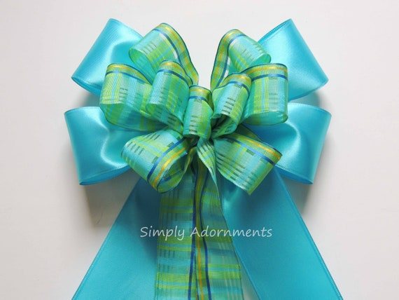 Blue Green Easter Wreath Bow Green blue Spring Plaid Swag Door bow Blue Green plaid Wedding Aisle Decor Ceremony chair Bow Tartan Gift bow