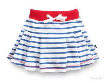 Toddler girl clothes, organic toddler skirt, girl jersey knit skirt, striped jersey skirt girl,white cotton summer skirt,100% organic cotton