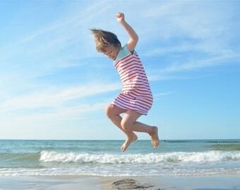 red white striped summer dress, toddler girl jersey dress, striped dress with light blue yoke, organic toddler girl clothes, summer kids