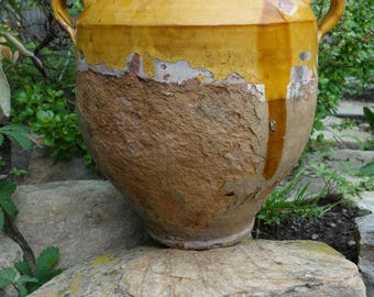 Antique Old French Pottery Ceramic Confit Pot Mustard Yellow Glaze; Authentic circa 1850