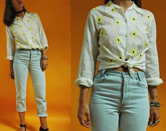 1960s Yellow Flower Hand Embroidered White Blouse