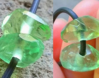 1 - Large Hole - Green Fluorite - Faceted - Focal - Nugget Beads, 2mm Big Drill Hole Beads, Loose Semi Precious Gemstone Beads