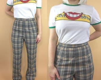 1970s plaid pants, vintage plaid slacks, retro 70s bootcut pants, plaid wool pants, checkered pants, high waisted tartan pants, 27x30