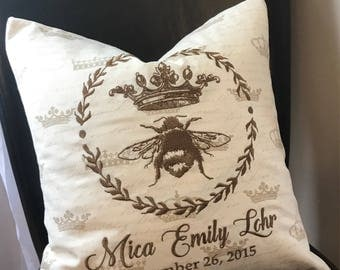Queen Bee Baby Personalized Announcement Pillow Cover