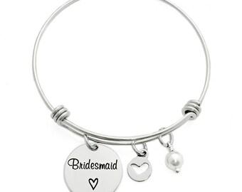 Personalized Bridesmaid Gift - Engraved Bangle Bracelet - Bridesmaid Bangle - Wedding Party Gift- Bridesmaid Bracelet - Bridesmaid - 1251