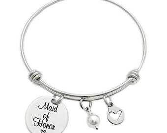 Maid Of Honor Bangle Bracelet With Pearl - Wedding Party Gift - Engraved Jewelry - 1330