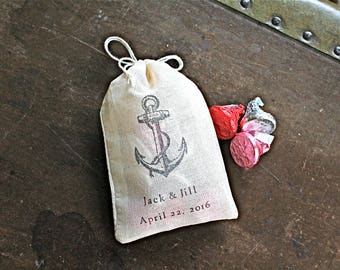Wedding favor bags, set of 60 personalized cloth bags, Nautical anchor with initials and wedding date, Bridal shower, nautical favor bag
