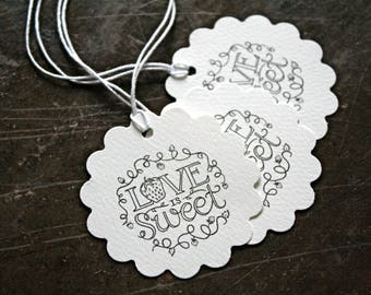 Personalized wedding favor tags, set of 20, Love is Sweet berry design, name and date, jam favor tags, berry tag design, handmade favor tags