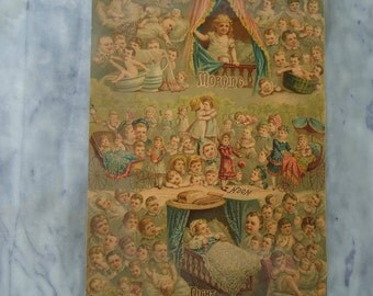 Vintage 1881 chromolithograph, Morning Noon And Night, True and Co. Augusta Maine